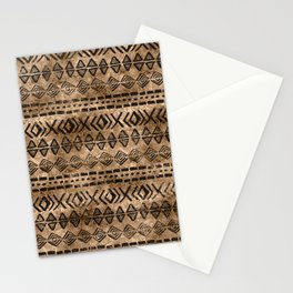 Ancient  Gold and Black Tribal Ethnic  Pattern Stationery Cards