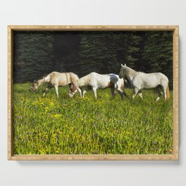 Horses In a Field Serving Tray