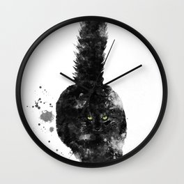 Black Maine Coon Cat Wall Clock