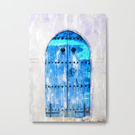 Blue Wooden Door Vintage - For Doors & Travel Lovers Metal Print
