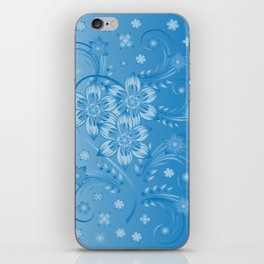 Abstract blue flowers with background iPhone Skin