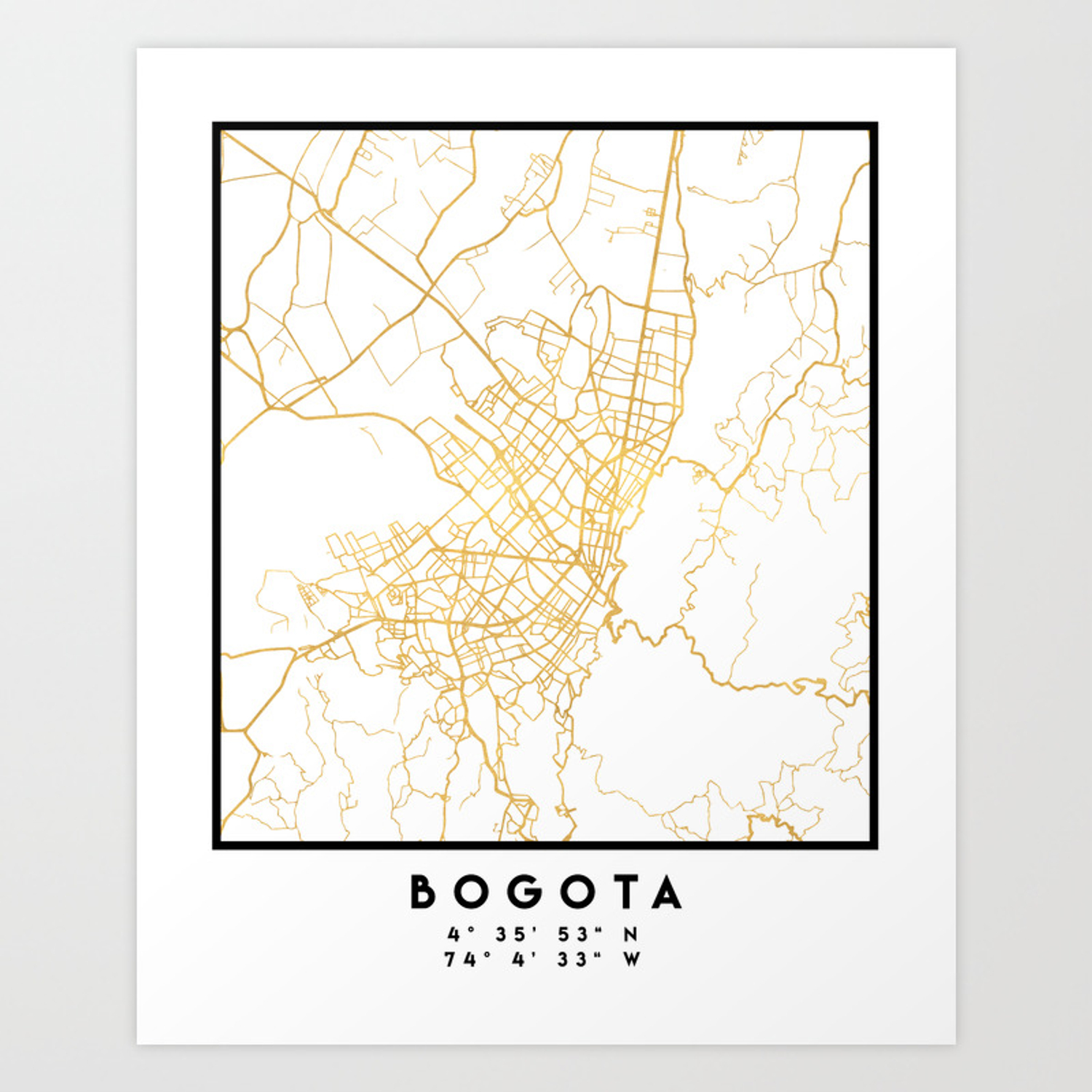 BOGOTA COLOMBIA CITY STREET MAP ART Art Print on sao paulo brazil map, caracas map, havana map, lima on map, san pedro sula map, boston map, mexico city map, dhaka map, buenos aires map, colombia map, cartagena map, quito map, chicago map, bratislava map, paramaribo map, leticia map, santiago map, asuncion map, rio de janeiro map, brasillia map,