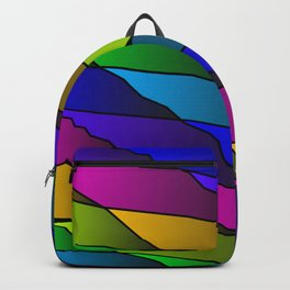 Slanting rainbow lines and rhombuses on pink with intersection of glare. Backpack