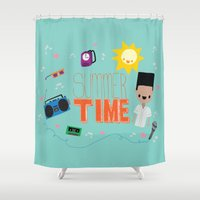 old school Shower Curtains featuring OLD SCHOOL!  by Claudia Ramos Designs