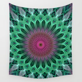 Green and red colors mandala Wall Tapestry