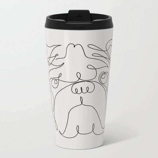 One Line English Bulldog Metal Travel Mug