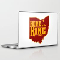 lebron Laptop & iPad Skins featuring Home of the King (White) by Denise Zavagno