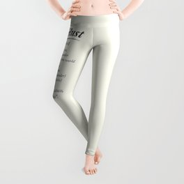 Wanderlust, dictionary definition, word meaning, travel the world, go on adventures Leggings