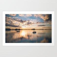 Fishing buddies Art Print