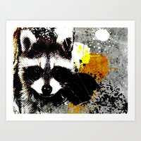racoon Art Prints featuring Racoon by oji daimler