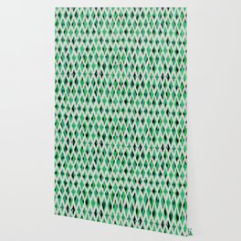 light diamond ikat on bright green Wallpaper