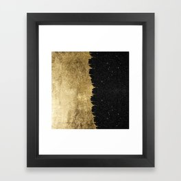 Faux Gold & Black Starry Night Brushstrokes Framed Art Print