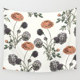 Watercolour of Ranunculus Wall Tapestry