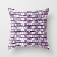 buildings Throw Pillows featuring buildings by Mariana Beldi