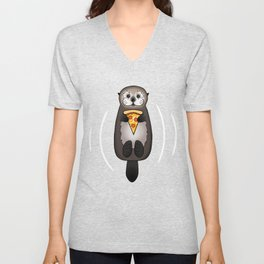 Sea Otter with Pizza Unisex V-Neck