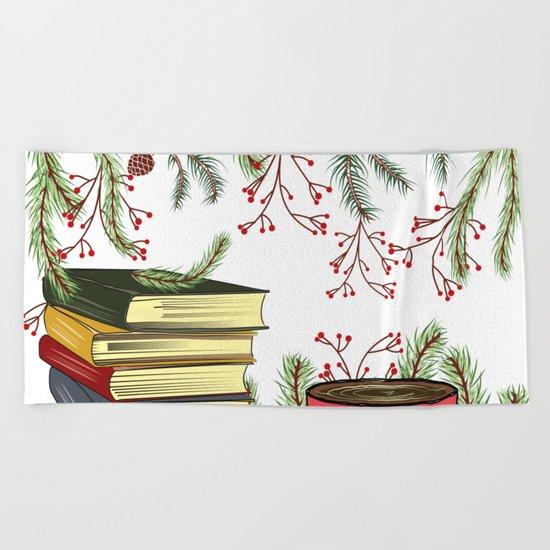 Winter Books and Tea Beach Towel