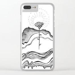 Floral Soundwaves Clear iPhone Case