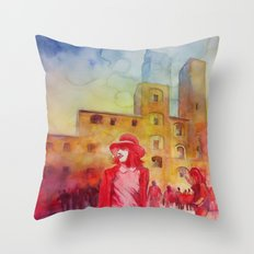 Chapeau rouge Throw Pillow