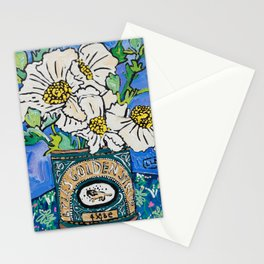 Matilija Fried Egg Flower Bouquet in Lyle's Golden Syrup Tin on Blue Gouache Still Life Painting Stationery Cards