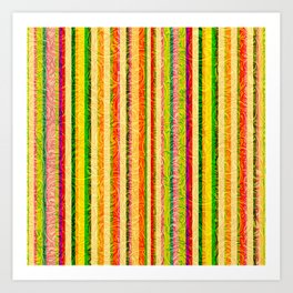 Colorful Stripes and Curls Art Print