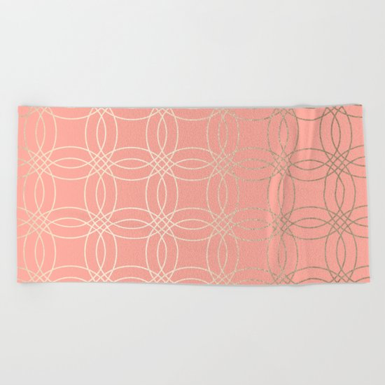 Simply Vintage Link in White Gold Sands and Salmon Pink Beach Towel