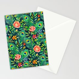 Peacock Feather Posies on dark Stationery Cards