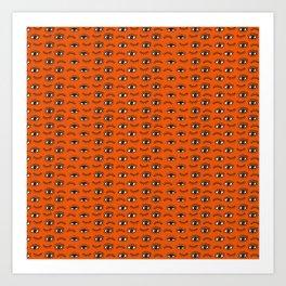 Hand Drawn Eyes Pattern - Orange Art Print