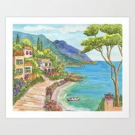 Seaside Village Art Print