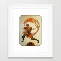 zuko Framed Art Prints featuring Fire by Madalyn McLeod