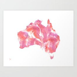 Pink Australia Watercolour Map Art Print