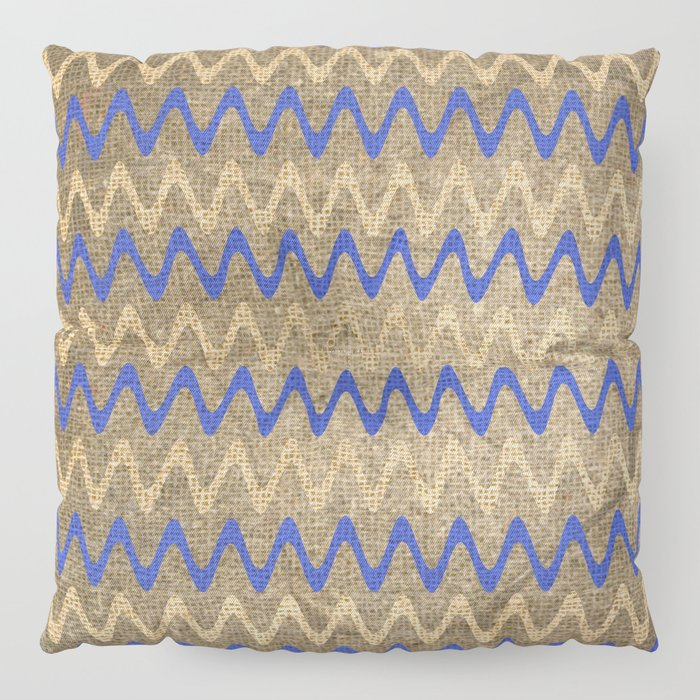 Blue and Tan Zigzag Stripes on Grungy Brown Burlap Graphic Design Floor Pillow