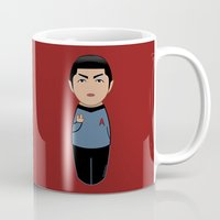 spock Mugs featuring Kokeshi Spock by Pendientera