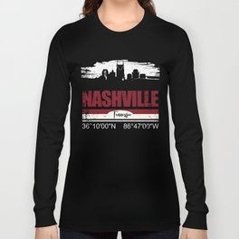 Nashville City Skyline Coordinates Tennessee Gifts Long Sleeve T-shirt
