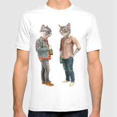 A Cats Night Out MEDIUM Mens Fitted Tee White
