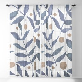 Watercolor berries and branches - indigo and beige Sheer Curtain