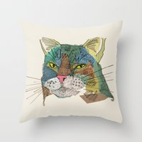 whisky Throw Pillows featuring Whisky Cat by Faye Finney