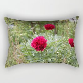 Red Peonies in Bloom Rectangular Pillow