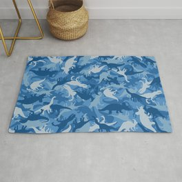 Camouflage Pattern Jurassic Dinosaurs Animal Print in Classic Blues Rug