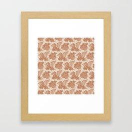 Pegasus Pattern Beige Brown Framed Art Print