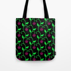 Pink flowers and green vines on black Tote Bag