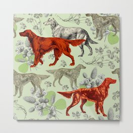 IRISH RED SETTER DOGS & GREEN CLOVER MEADOW Metal Print