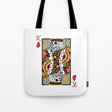 Horror Skeleton King Playing Card Picture Tote Bag