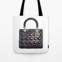 Lady Handbag in Black Leather Tote Bag