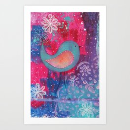 Whimsical Bird Mixed Media Art Print