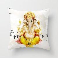 ganesha Throw Pillows featuring Ganesha by O. Be