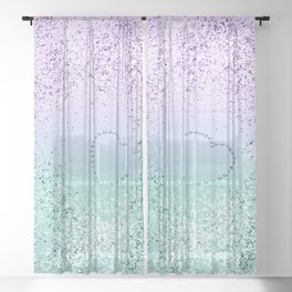 Sparkling MERMAID Girls Glitter Heart #1 #decor #art #society6 Sheer Curtain