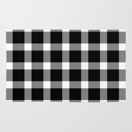 Plaid Dark Black Rug