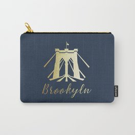 Brooklyn Bridge in Gold Carry-All Pouch