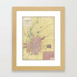 Vintage Map of Indianapolis Indiana (1903) Framed Art Print