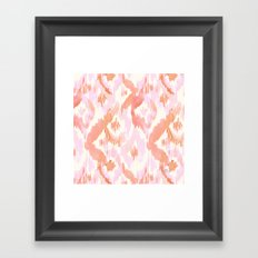 Pink Coral Ikat Diamonds Framed Art Print